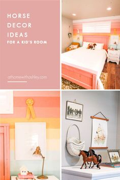 horse inspired girl room with a rainbow mural. Ideas and decor that kids will love. Plus an easy diy for painting a striped and colorful pastel featured wall to get a bedroom to match your aesthetic. Home Improvement Projects, Home Projects, Budget Home Decorating, Decorating Ideas, Yellow Rug, Mural Ideas, Bed Wall, Cozy Room, Little Girl Rooms