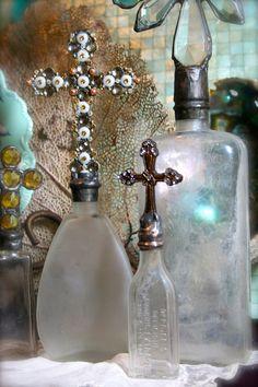 Bebe+Croix+Vintage+Glass+Bottle+Cross+Bottle+One+Of+by+tresorbleu,+$25.00