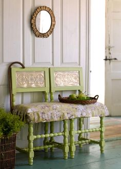 Country Cottage ●Two painted chairs made into a bench. Why did I though about this before..