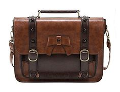 ECOSUSI Vintage Crossbody Messenger Bag Satchel Purse Handbag Briefcase for Women Girl >>> Read more info by clicking the link on the image. Crossbody Messenger Bag, Satchel Purse, Leather Satchel, Leather Purses, Leather Handbags, Pu Leather, Small Handbags, Purses And Handbags, Briefcase Women