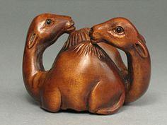 Boxwood Wood Netsuke TWO CAMELS Carving