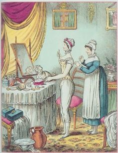 Lady's Maid and Her Duties in the Georgian and Regency Era: The Lady's Maid Regency Gown, Regency Era, Bustiers, Jane Austen, James Gillray, French Paintings, House Paintings, Georgian Era, Victorian Era