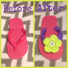 Crochet flip flops with flower and button Pink purple yellow made by Jessica Westerwelle facebook.com/5starcrochet