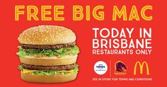 Brisbane Broncos NRL Grab your FREE Big Mac at participating Brisbane @maccas restaurants by showing your membership card or game ticket!