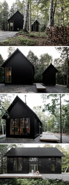 The inspiration for this cottage comes from traditional shapes and chalet designs, however the architects gave it a modern twist by creating a black monochrome exterior. designs exterior traditional The GRAND PIC Cottage By APPAREIL architecture Chalet Design, House Design, Cabin Design, Cottage Design, Black Architecture, Architecture Design, Japanese Architecture, Architecture Drawings, Japanese Buildings