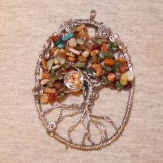 Fall Leaves Wire Art Tree of Life Suncatcher // Wire Wall or Window Decor // Bird's Nest and Owl Charm