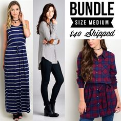 1 Available (A $72 VALUE)    1- Navy Striped Elbow Patch Top - Medium    1- Red/Navy Plaid Flannel Tunic - Medium    1- Navy/Grey Striped Maxi Dress - Medium  | Shop this product here: http://spreesy.com/RachelsChicBtq/198 | Shop all of our products at http://spreesy.com/RachelsChicBtq    | Pinterest selling powered by Spreesy.com