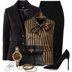 FENDI Wool Striped Bow Top by dgia on Polyvore featuring Fendi, Chicnova Fashion, Olympia Le-Tan, Gianvito Rossi, Hermès and BKE