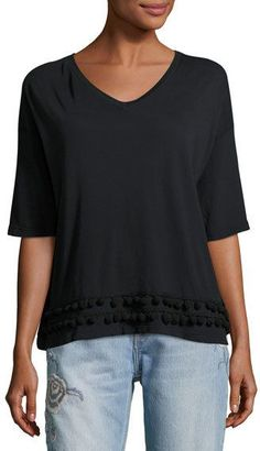 Current/Elliott The Pompom V-Neck Tee, Black