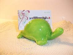 Ceramic porcelain tooth business card holder for dentists ceramic turtle business card holder photo or note pad holder neon green reheart Images