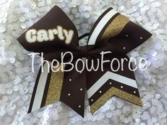 Glitter Gold White Brown Carly cheer bow with by TheBowForce