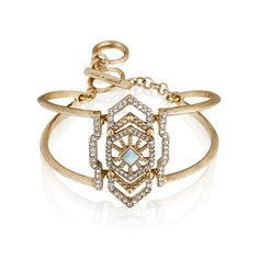 "Portico Cuff Braceletantique gold-plated nickel-free plating 2.25""- 2.75"" approx. length toggle closure semi-precious marbled pale blue stone, clear crystal pavé  $48.00"
