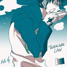 Trafalgar D. Water Law One piece art blue