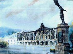 Acuarela del La Plaza de los Martires de la Ciudad de Toluca, Cortesía ARQ. Hector Serrano Barquín