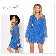 Free People Cobalt Nwt Bell Sleeve Dress - 47% Off Retail