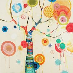 Liz Tran #art #paintings http://artsyforager.wordpress.com/2011/10/12/happy-trees/