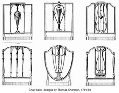 The age of Revivals: Neoclassical Furniture. Chair back designs by Thomas Sheraton, 1791-94.