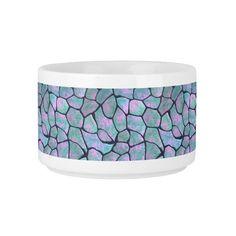 Turquoise and pink mosaic stones seamless pattern chili bowl