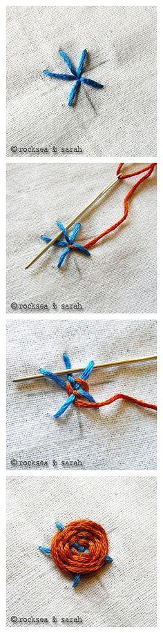 手工绣牡丹花。一朵漂亮的牡丹花刺绣,手针就可以绣成,用在布艺装饰上效果更好。