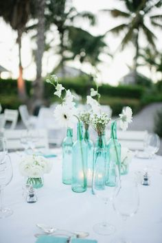 Sea glass / icy pale aqua with white flowers. Wedding Reception Decorations, Wedding Bells, Wedding Centerpieces, Wedding Table, Our Wedding, Dream Wedding, Beach Wedding Flowers, Floral Wedding, Sea Glass Wedding