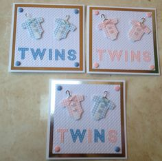 "Gorgeous Handmade New Baby Twins Card 3 colour options 6"" x 6"" #NewBabyTwins"