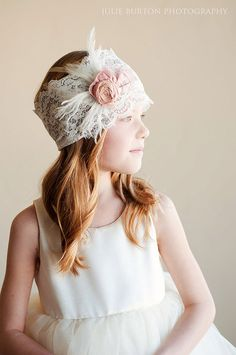 Flower girl or bridesmaid headband vintage wedding by gillygray