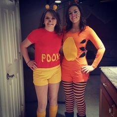 Disney Costume No Boys Allowed: 30 Duo Costumes to Rock With Your BFF Pooh and Tigger - Take a look and get majorly inspired. Halloween Duos, Twin Halloween, Tigger Halloween, Halloween Party, Group Halloween, Halloween 2014, Halloween Pumpkins, Halloween Face, Partner Halloween Costumes