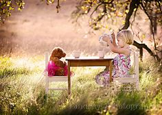 <3 To be little, innocence again; play with teddy, drink tea in hats and dresses, under green leaves, and warm sun...