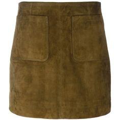 Burberry Straight Mini Skirt ($760) ❤ liked on Polyvore featuring skirts, mini skirts, brown, mini skirt, burberry, brown mini skirt, suede skirt and short brown skirt