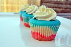 4th of July Tie-Dye Cupcakes