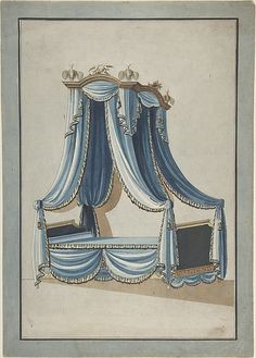 Anonymous, French, 18th century. Design for a Canopy Bed, ca. 1760–1780. The Metropolitan Museum of Art, New York. The Elisha Whittelsey Collection, The Elisha Whittelsey Fund, 1949 (49.50.174) | During the 17th and 18th century more and more attention was paid to the design of canopy beds. The sculpted turtle doves on top of the baldachin indicate that this design may have been meant for the bedroom of a newly wedded couple.