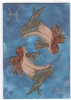This was made for the Swap-bot monthly ATC swappers Zodiac signs swap for Pisces. Pisces Girl, Pisces Woman, Astrology Pisces, Pisces Zodiac, Zodiac Art, Gemini, Kahlil Gibran, Illustrations, Illustration Art