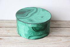 Large Round Faux Malachite Box