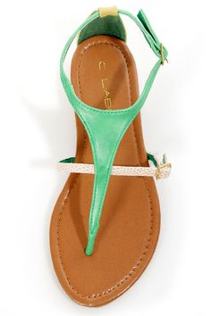 C Label Cabana 2A Green and Yellow Snake Thong Sandals - <3