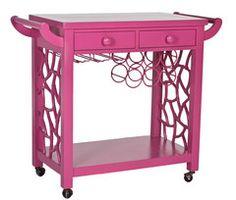 Hot pink bar cart! so fun!! i love the old barcart idea!!