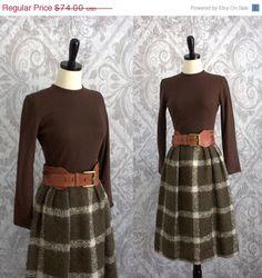 Vintage 1960s Dress 60s Plaid Dress Autumn by SassySisterVintage