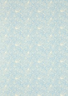 Calico Birds Mineral Blue (223583) - Sanderson Fabrics - A two colour, pretty bird and foliage fabric design based on original Sanderson leatherwork designs. Shown here in mineral blue. Other colourways are available. Please request a sample for a true colour and texture match.