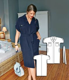 Sewing Dresses Cuffed Sleeve Shirtdress (Plus Size) Diy Dress, Shirt Dress, Blouse, Dress Sewing, Sewing Clothes Women, Clothes For Women, Burda Couture, Big Size Fashion, Plus Sise