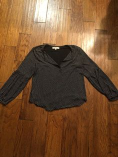 ac0346bce489d Ann Taylor Loft Medium Top Black Off White Polka Dots Long Sleeve Blouse  Womens  fashion