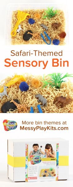 Safari Sensory Bin includes crinkle cut paper, themed toys, and fine motor tools. The wild animals lead to dramatic play and sensory play for kids! Learning Toys / Activity Kit for Kids / Sensory Bin Ideas / Messy Play Kits - Education and lifestyle Learning Toys For Toddlers, Educational Toys For Kids, Learning Games, Educational Activities, Animal Activities, Toddler Activities, Sensory Activities, Nursery Activities, Toddler Games