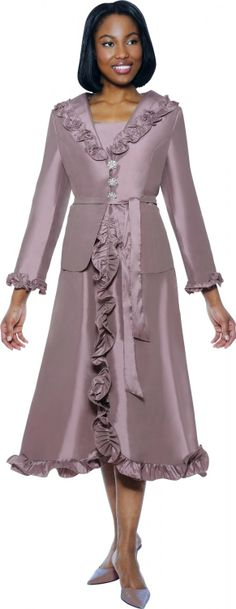 Mauve Ruffle Church Dress By Nubiano - Divine Church Suits Church Attire, Church Suits, Church Dresses, Holiday Dresses, Fall Dresses, Special Occasion Dresses, Summer Dresses, Dresses 2014, Dresses Dresses