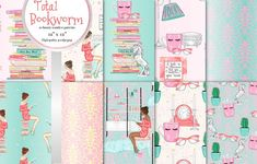 Total bookworm seamless patterns by Gaynor Carradice Designs on @creativemarket