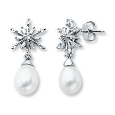 Cultured Pearl Earrings Lab-Created Sapphires Sterling Silver