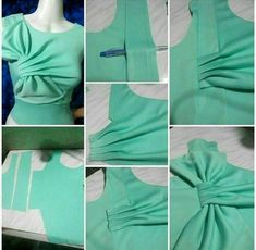 Bow drapes ram: «: credits to the owner Skirt Patterns Sewing, Blouse Patterns, Clothing Patterns, Blouse Designs, Drape Dress Pattern, Bodice Pattern, Fashion Sewing, Diy Fashion, Sewing Collars