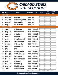 Chicago Bears 2016 Football Schedule. Print Schedule Here - http://printableteamschedules.com/NFL/chicagobearsschedule.php