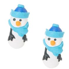 Snowman with Blue Accessories Front and Back Earrings