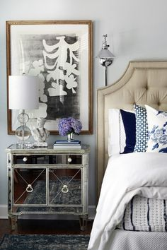One Room Challenge Master Bedroom Makeover by Hunted Interior // Blue Bedroom // Tufted Headboard // Mirrored Nightstands