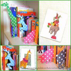 animal bookshelf inserts