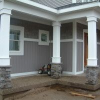 What Front Porch Column Wraps To Choose? : Attractive Image Of Front Porch Decoration Using Grey Stone White Front Porch Column Wraps Including Grey Front Porch Wall Paint And Grey Concrete Front Porch Flooring