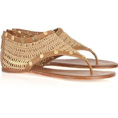Tory Burch Susannah crocheted raffia and leather sandals ($165) ❤ liked on Polyvore featuring shoes, sandals, flats, sapatos, zapatos, beige leather sandals, flats sandals, crochet sandals, toe thong sandals and leather shoes